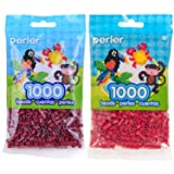 Perler Bead Bag 1000, Bundle of Cranapple and Cherry Red (2 Pack) (Color: Cranapple & Cherry)