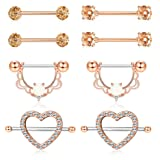 ORAZIO 4 Pairs 14G Stainless Steel Nipplerings Nipple Tongue Rings CZ Opal Barbell Body Piercing Jewelry Rose Gold Tone (Color: B:4 Pairs Rose Gold Tone)