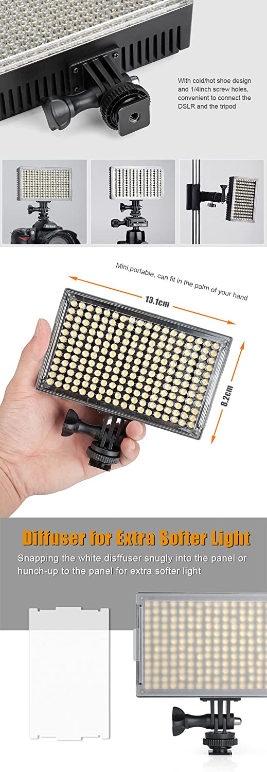 Amazon.com : Pergear A216C AIR SWITCH Sensor LED Video Light Panel ...