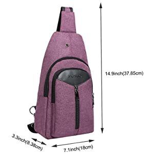 MOSISO Sling Backpack with USB Charging Port, Polyester Travel Daypack Durable Chest Shoulder Unbalance Gym Fanny Crossbody Sack Satchel Outdoor Hiking Bag for Men Women Girls Boys, Purple (Color: Purple)