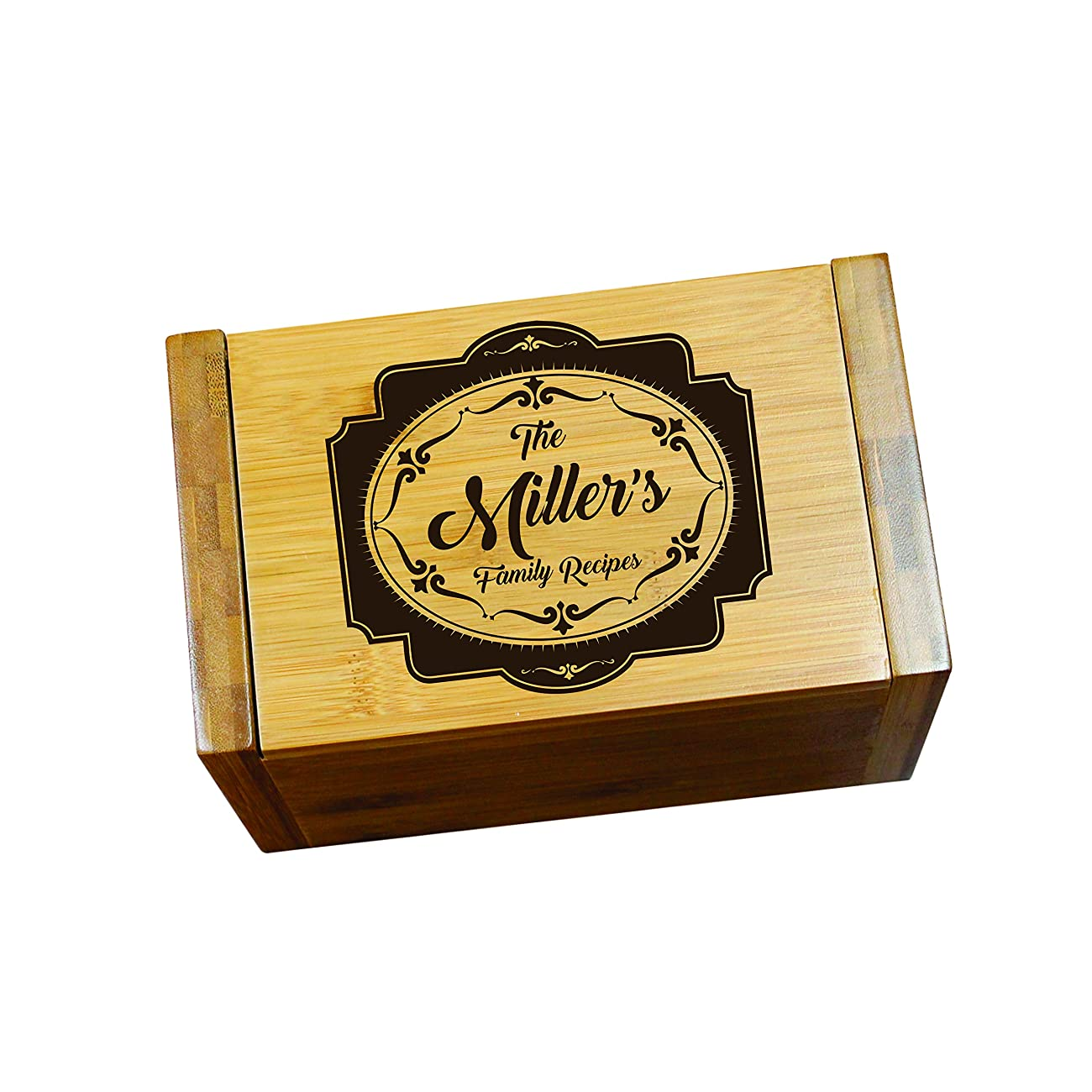 Engraved Recipe Box 4x6 Card Holder - Personalized Custom Gifts For Mom - Kitchen Cooking Gift 4