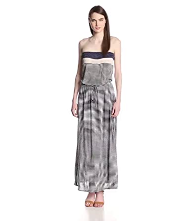 Joie Women's Cristabel B Mini Multi Stripe Jersey Strapless Maxi Dress, Indigo Blue, X-Small