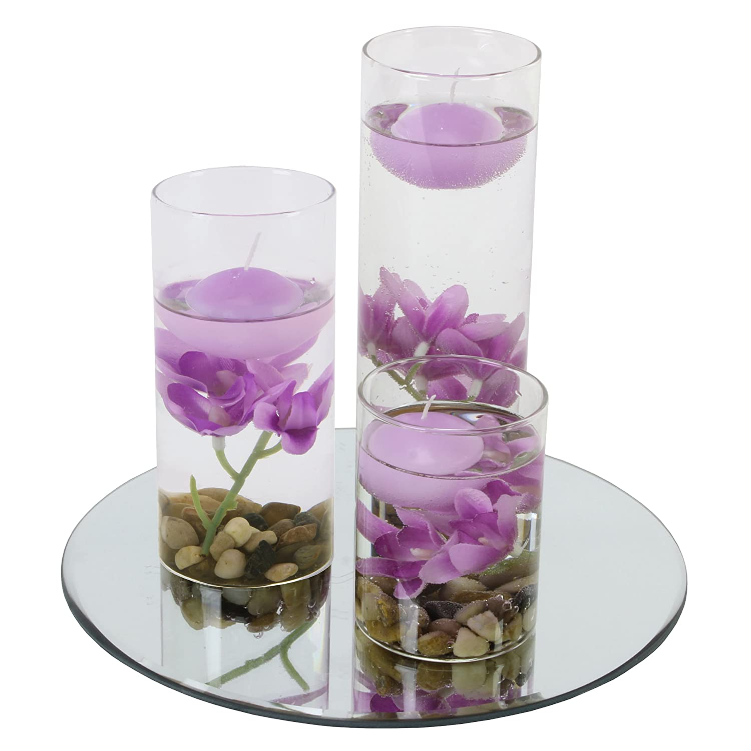 Set 3 floating candles round vase purple flowers mirror for How to make flowers float in vases