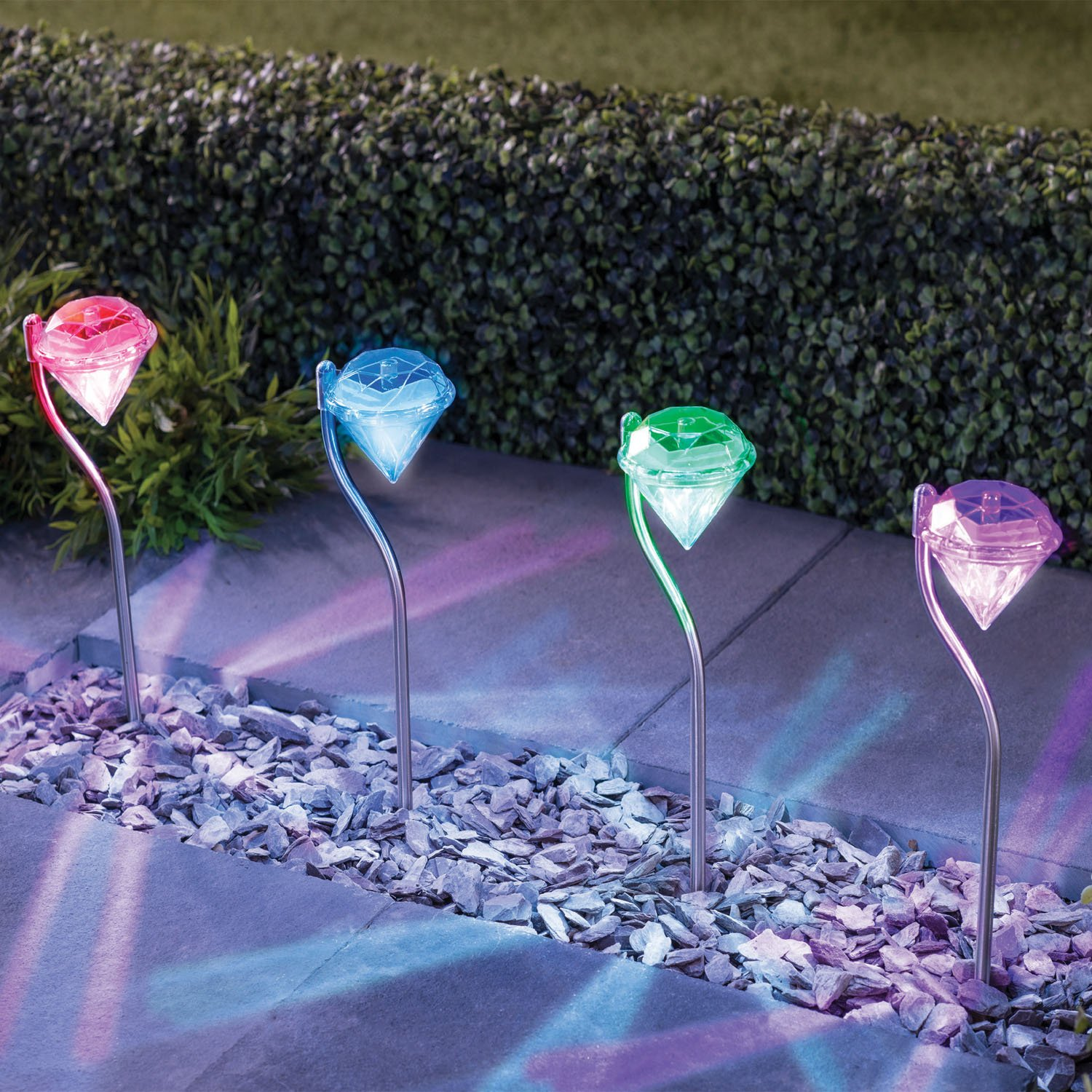 Colour changing stainless steel diamond led solar lights for Lampe de jardin a led