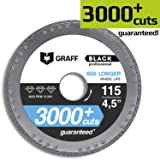 Diamond Metal Cutter GRAFF Black 4 1/2-Inch, Professional Angle Grinder Cutting Wheel, Sheet Metal Cutter, Cut Off Wheel 7/8-Inch Arbor - 3x Longer Metal Max Wheel Life (115mm) (Tamaño: 4.5 Inch (115mm))