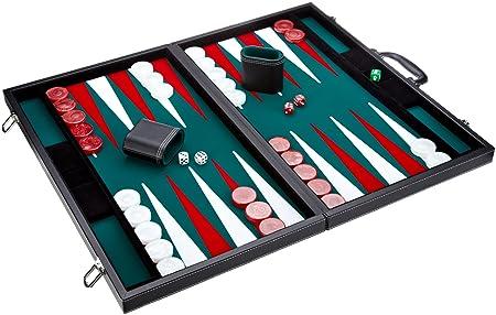 Philos -  1715 - Jeu Backgammon - cuir synthétique - vert - Langue : allemand