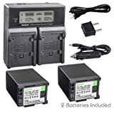 Kastar Fast Charger + 2 Battery Replacement for Canon BP-828 BP820 VIXIA GX10 XF400 XF405 HFG30 HFG40 HF G50 HF G60 HFM32 HFM40 HFM400 HF20 HF200 HG20 HG21 XA10 XA20 XA25 XA30 XA35 XA40 XA45 XA50 XA55 (Tamaño: 2 batteries + 1 LCD dual charger)