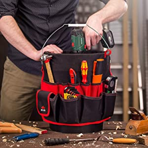NoCry Heavy Duty Bucket Organizer - with 35 Pockets, 5 Tool Loops, and Tape Hook/Strap. Fits a Standard Five and Three Gallon Bucket (Color: Black, Red)