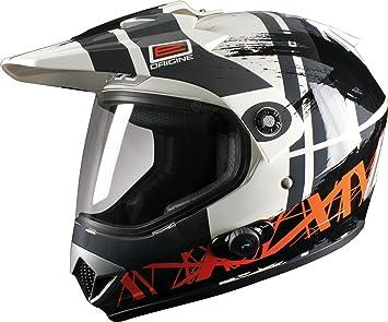 Origine helmets 207370418100404 Casque Gladiatore Dakar, Taille : M, Brillant Blanc/Noir
