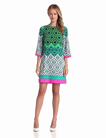 Eliza J Women's 3/4 Sleeve Shift Dress With Color Pop, Print, 14