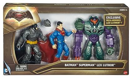 Mattel - Batman V Superman - DHY28 - Batman Superman & Lex Luthor - 3 Figurines Articulées