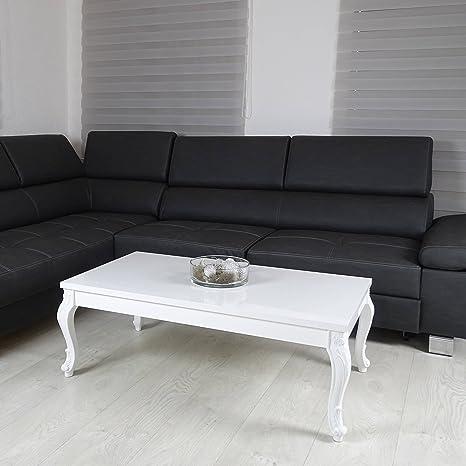 Couchtisch 3 Größen Hochglanz Weiß Lack Bluten Tisch Beistelltisch Holz Lack 115 x 65 cm
