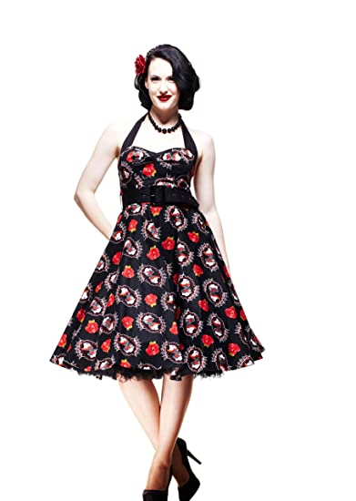 bd94a37efe296 Hell Bunny Plus Size Skull Lady And Red Rose Dress