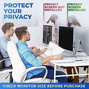 , Black Anti-Scratch Matte Gloss Finish Privacy Filter Protector 16:9 18.5 WIDESCREEN Monitor Privacy Screen Blocks 96/% UV Anti-Glare Info Protection Desktop Computer Security