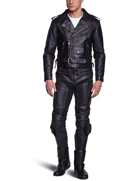 Protectwear Veste de moto en cuir Noir