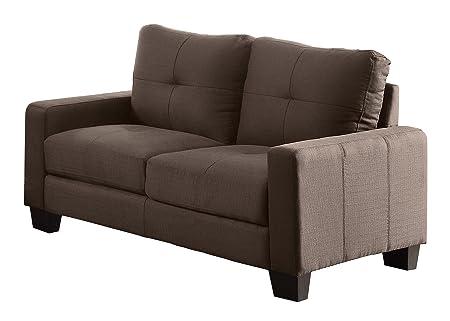 Homelegance 8518-2 Upholstered Loveseat, Brownish Grey Linen-Like Fabric