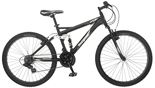 Mongoose Men's Status 2.2 Full Suspension Bicycle (26-Inch Wheels), Matte Black, 18-Inch