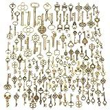 Jeteven 125pcs Vintage Skeleton Charm Key Set Necklace Bracelets Pendants Jewelry DIY Making Supplies Wedding Favors (Color: Key Series)