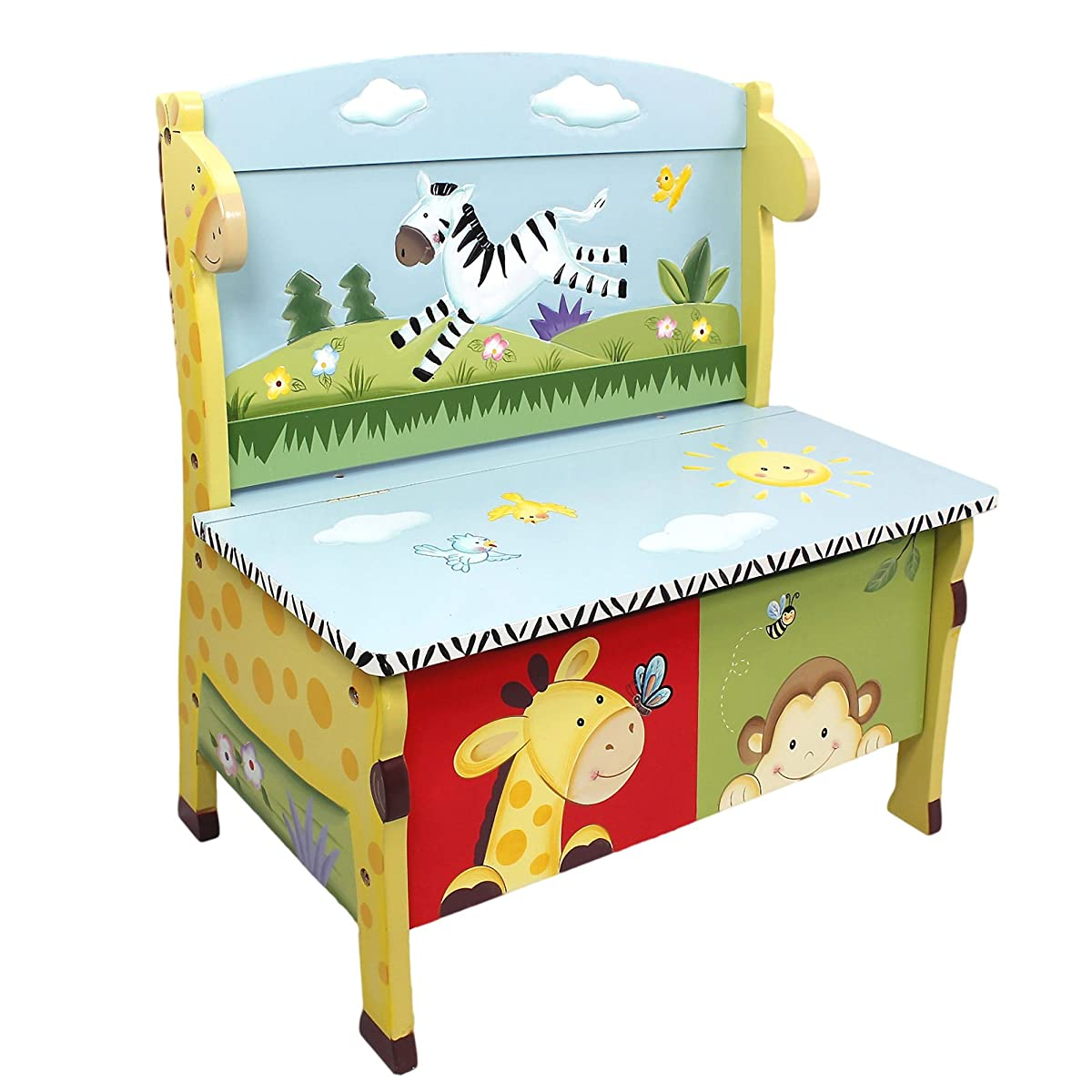 Sunny Safari Animals Thematic Kids Storage Bench| Imagination Inspiring Hand Crafted