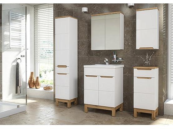 mobili da bagno Bali con lavandino bianco - bianco, Komplettes Set XXL 60cm