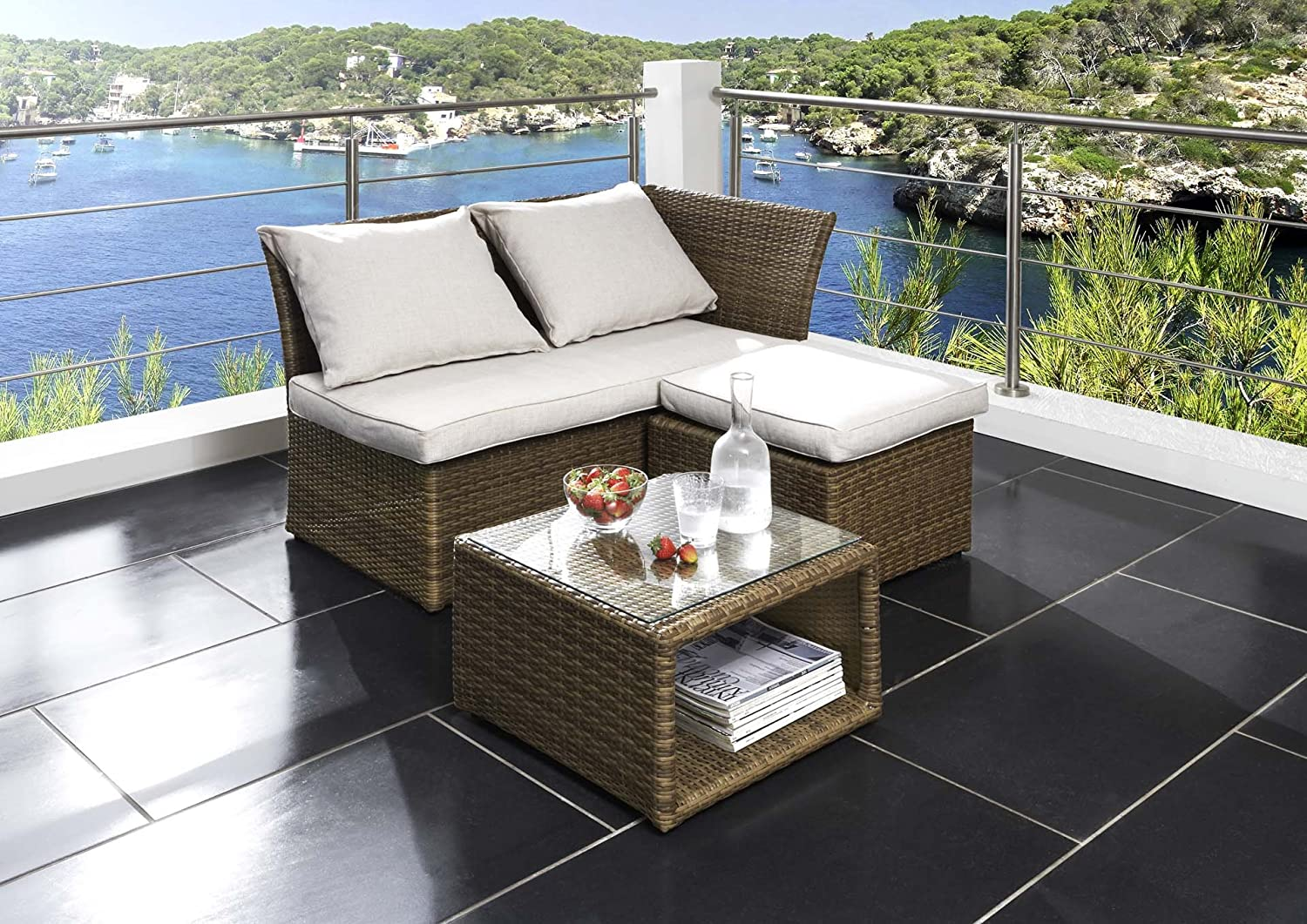 destiny lounge gartenm belset loft loungeset balkonset sitzgruppe polyrattan g nstig. Black Bedroom Furniture Sets. Home Design Ideas