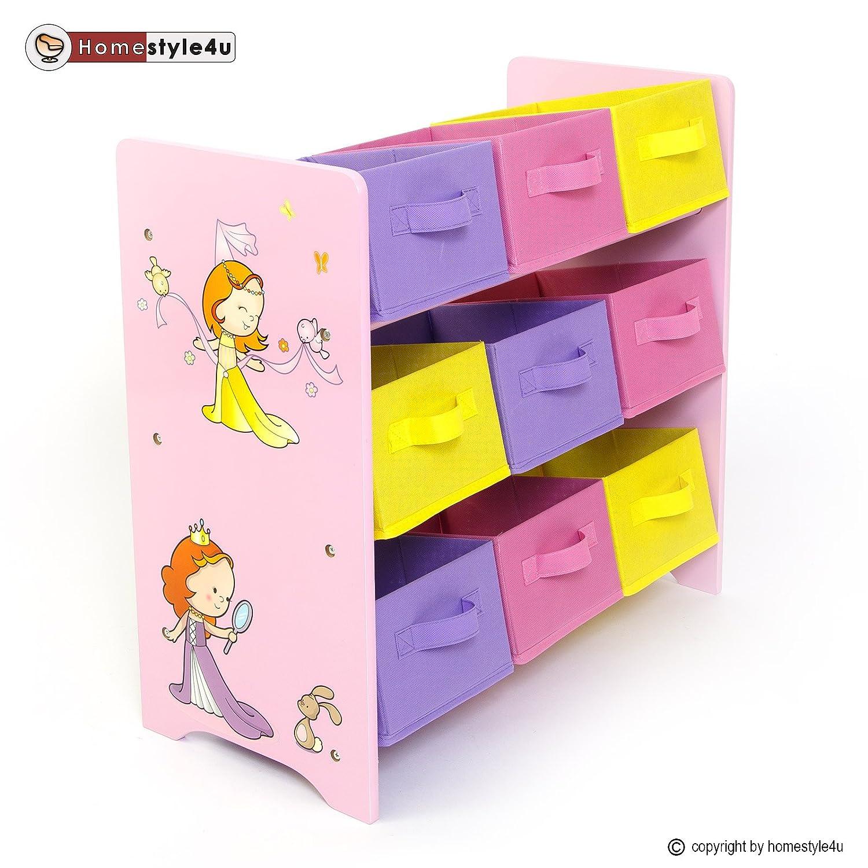 Homestyle4u Kinderregal Spielzeugbox Spielzeugkiste Kindermöbel Regal Kinder Aufbewahrung kaufen