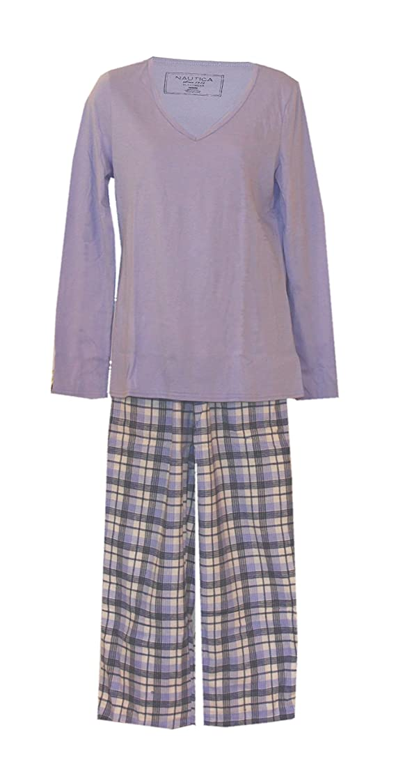 Nautica Knit and Brushed Cotton Plaid Pajamas Set Lilac