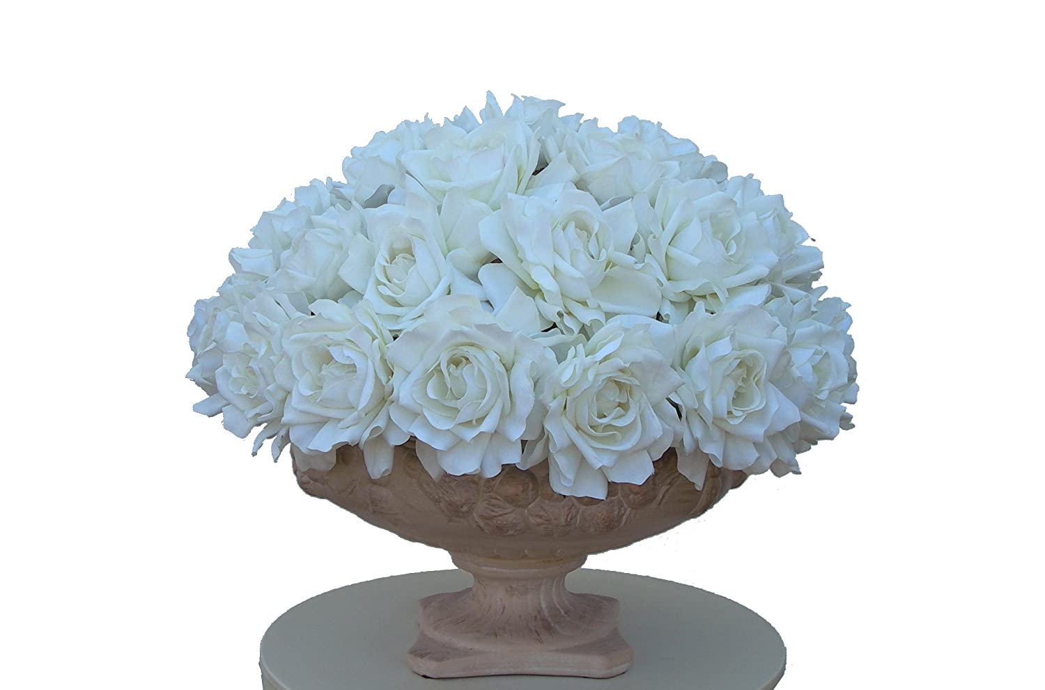 Silky Dreams Roses on Rose in Faux Stone Urn