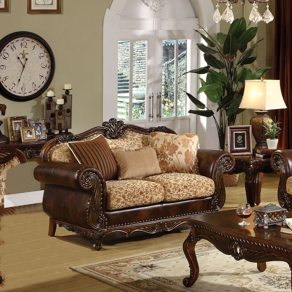 1PerfectChoice Remington Traditional Cherry Bonded Leather Loveseat
