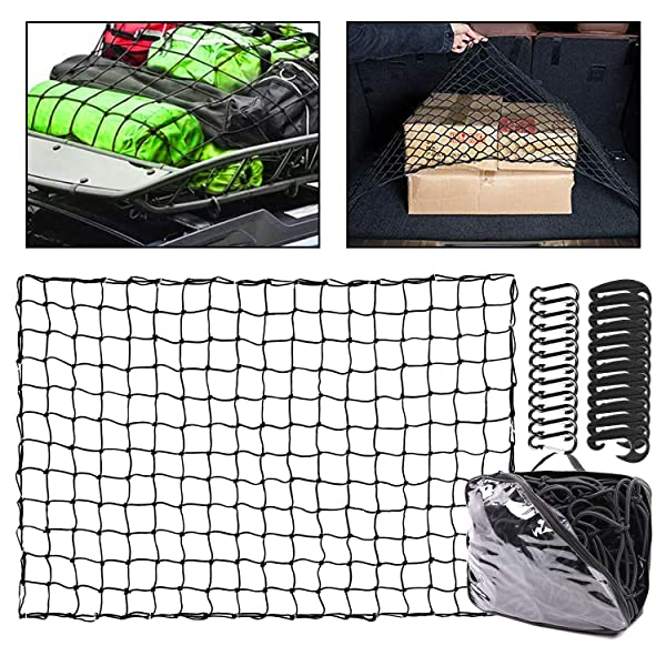 """Pickup Trucks Rooftops Multi-Purpose Heavy-Duty 72/"""" x 96/"""" Inch for Trailers /& More ABN Cargo Net with Nylon Hooks"""