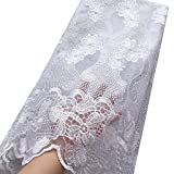 WorthSJLH White Lace Fabric 2019 Latest Net African Lace Fabric Swiss Voile Lace Fabrics in Switzerland Weddings Nigerian Lace (1154) (Color: white, Tamaño: 51 Inches)