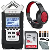 Zoom H4n Pro Handy Mobile 4-Track Recorder - Bundle With 16GB SDHC Card, 4 AA Batteries, Samson SR450 Closed-Back On-Ear Studio Headphones, Microfiber Cloth, 5' Stereo Mini Male 3.5mm TRS Cable