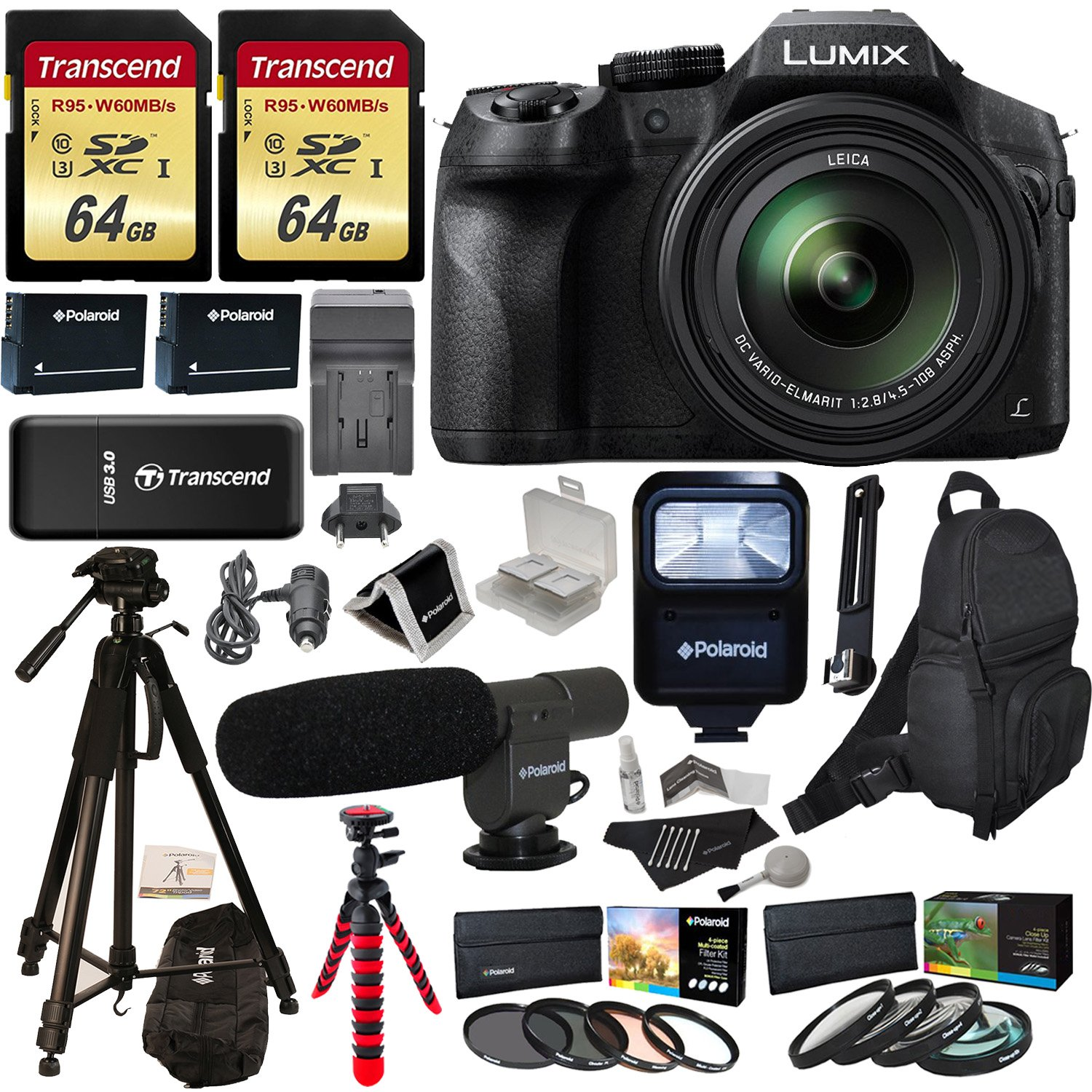 "Panasonic LUMIX DMC FZ300 4K Point and Shoot Camera with Leica DC Lens 24X Zoom + Polaroid Accessories + 2 64GB + 72 & 12"" Tripod + Flash + Bag + 2 Batteries + Charger + 2 Filters + Cleaning Kit +More"