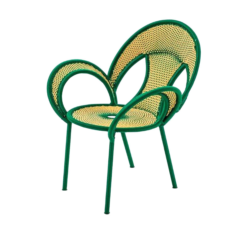 Banjooli Armlehnstuhl hellgelb/grün günstig kaufen