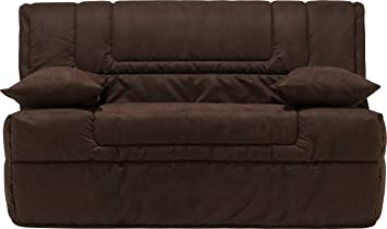 banquette bz microfibre microfibre chocolat matelas 140x190 bultex mousse hr cuisine hr. Black Bedroom Furniture Sets. Home Design Ideas
