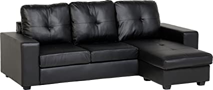 Seconique Benson Corner Sofa - Black Faux Leather