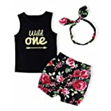 Baby Girl T-Shirt Clothes Wild One Vest and Floral Pants Outfits with Bowknot Headband(12-18 Months) (Color: Black, Tamaño: 12 - 18 Months)