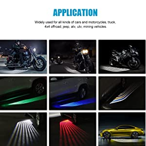 LED Welcome Light,WEISIJI R3 Angel Wings Light Carpet Ghost Shadow Light with Cree Chips LED Rock Light Underglow Light Car Door Exterior Light Ground Lamps for All Cars and Motorcycles 2Pcs Red