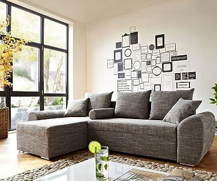 Couch Rudy Hellgrau 260x160 Schlaffunktion Ottomane variabel Ecksofa