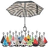 Sharpty Inverted Umbrella, Umbrella Windproof, Reverse Umbrella, Umbrellas for Women with UV Protection, Upside Down Umbrella With C-Shaped Handle (Beige Plaid)
