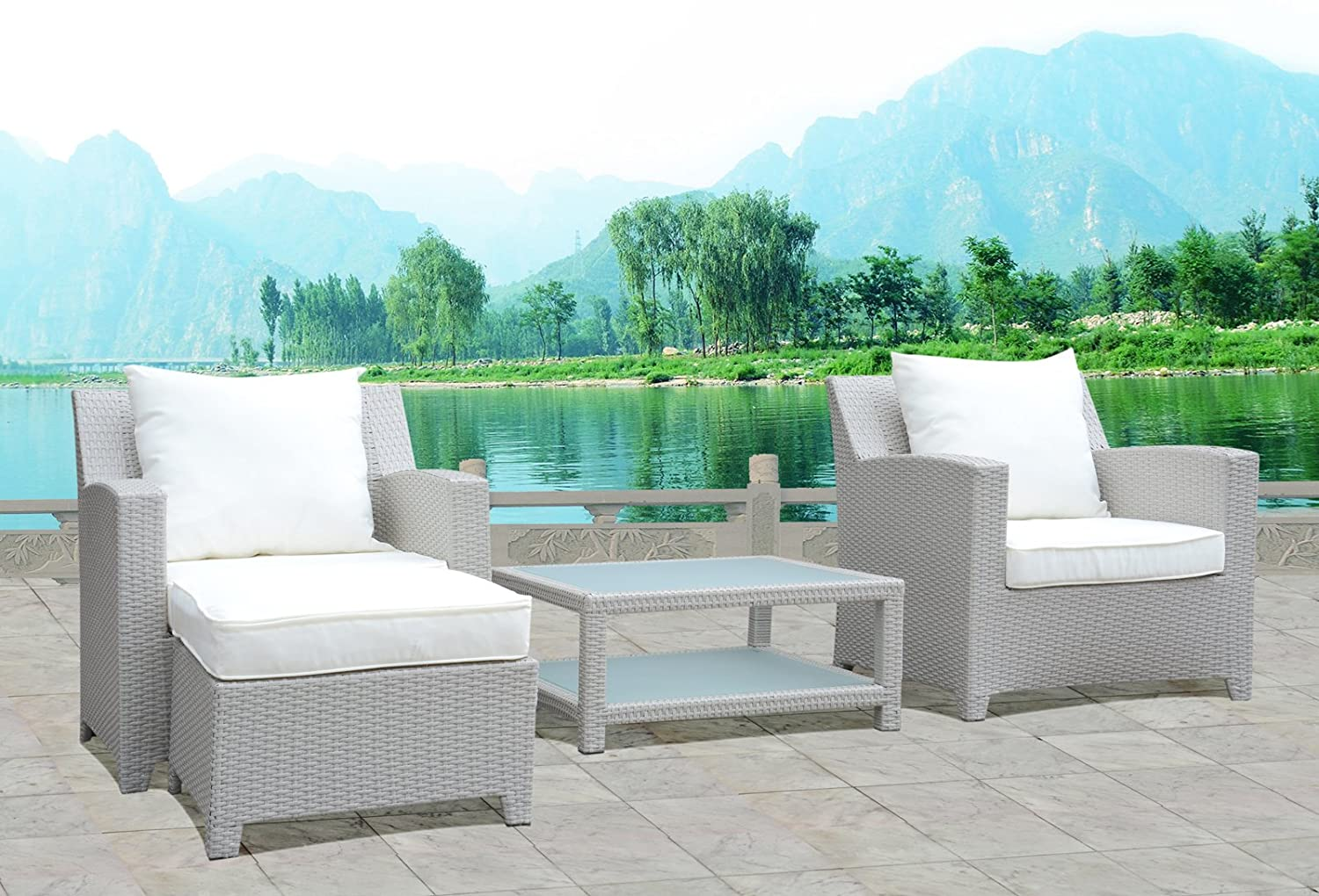 design gartenm bel lounge sitzgruppe polyrattan 2 x sessel 1 x hocker tisch fertig montiert. Black Bedroom Furniture Sets. Home Design Ideas