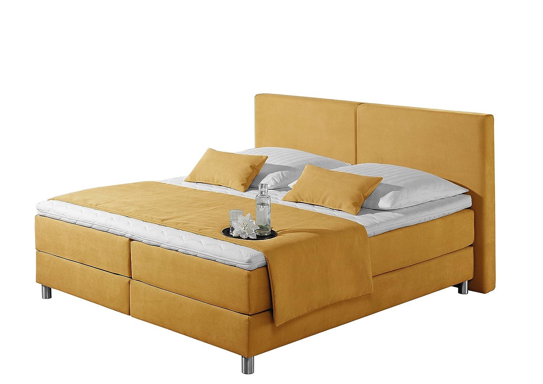 Maintal Betten 237405-4170 Boxspringbett Metropol 180 x 200 cm, Strukturstoff gelb
