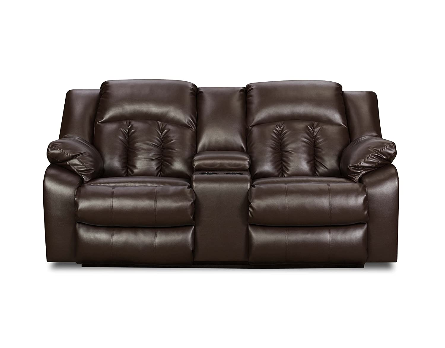 Simmons Upholstery Sebring Bonded Leather Double Motion Console Loveseat