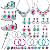 WATINC 46Pack Princess Pretend Jewelry Toy,Girl's Jewelry Dress Up Play Set,Included Crowns, Necklaces,Wands, Rings,Earrings and Bracelets,46 Pack (Color: Princess Jewelry Toy, Tamaño: Princess Jewelry Toy)
