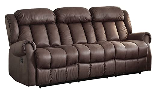 Homelegance 8535CH-3 Double Reclining Sofa, Brown Fabric