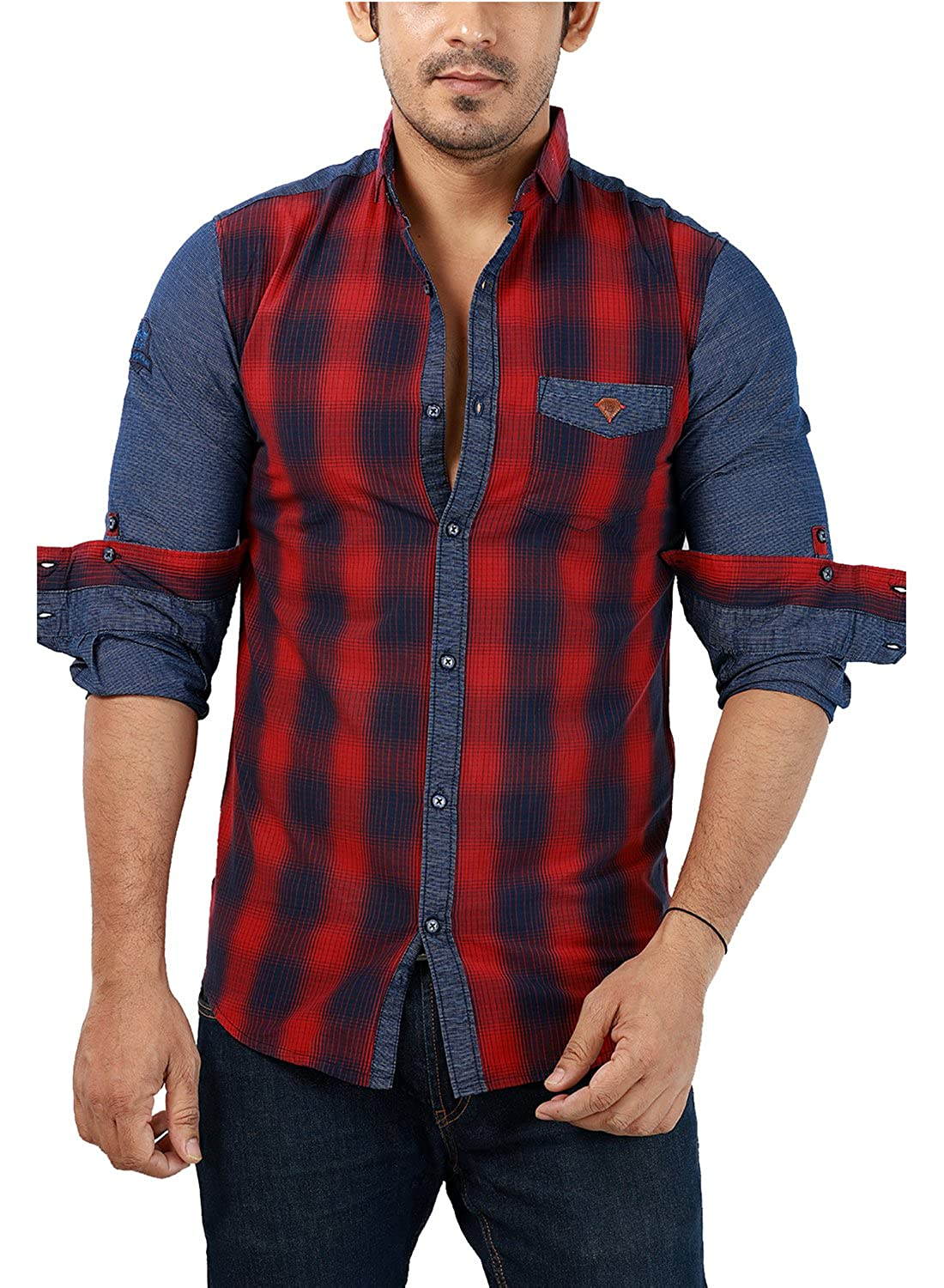 Shirt design gents - Rapphael Full Sleeve Slim Fit Red Checked Shirt For Men