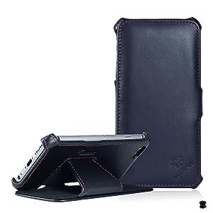 LEICKE MANNA   Funda de piel genuina para iPhone 6 PLUS de 5.5 pulgadas   Función EasyStand   Piel de napa   Color negro con costuras rojas  Electrónica Comentarios de clientes y más noticias