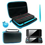 3 in 1 Case for NEW Nintendo 2DS XL - 2DS XL Case with Stylus,2 Screen Protector Film and 8 pcs game card cases - Black