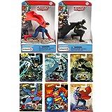 DC Hot Wheels Cars & Batman V Superman Premium Pop Culture Set & Justice League Figures Super Hero Collection (Color: Blue, Black, Red, Gold)