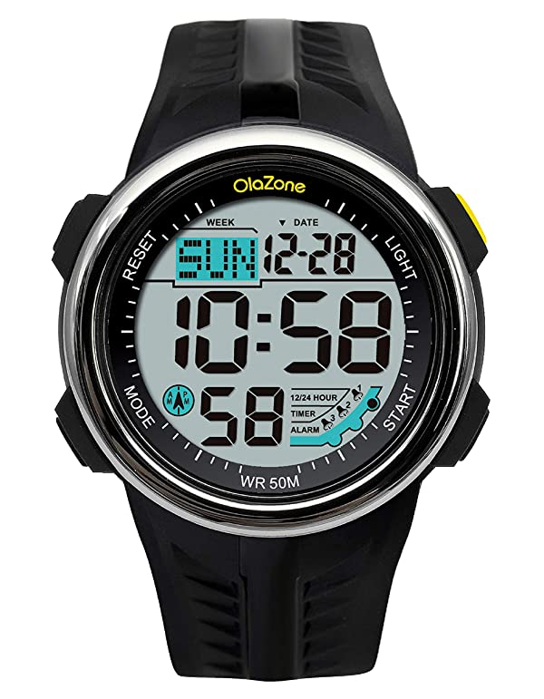 Boys Watch for Teen Digital Sports Water Resistant 60 Lap 3 Alarm Stopwatch Dual Time Black Watch Age 15-20